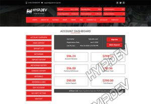 goldcoders hyip template no. 053, account page screenshot