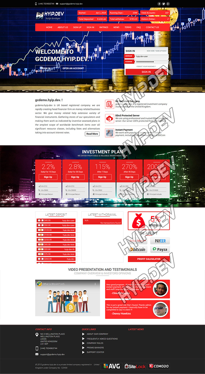 goldcoders hyip template no. 053, home page screenshot