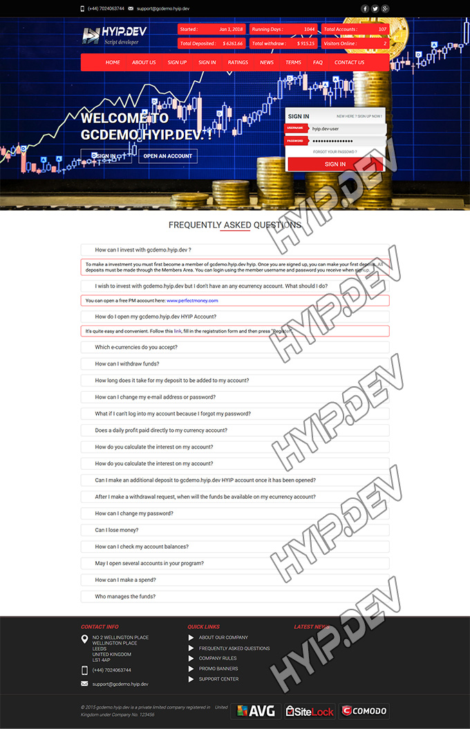 goldcoders hyip template no. 053, default page screenshot