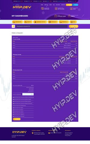 goldcoders hyip template no. 054, deposit page screenshot