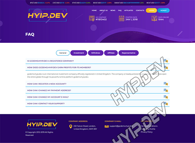 goldcoders hyip template no. 054, default page screenshot
