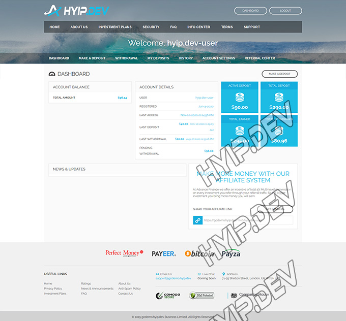 goldcoders hyip template no. 0.55, account page screenshot