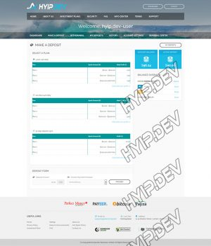 goldcoders hyip template no. 0.55, deposit page screenshot