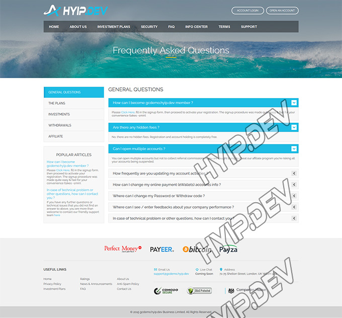goldcoders hyip template no. 0.55, default page screenshot