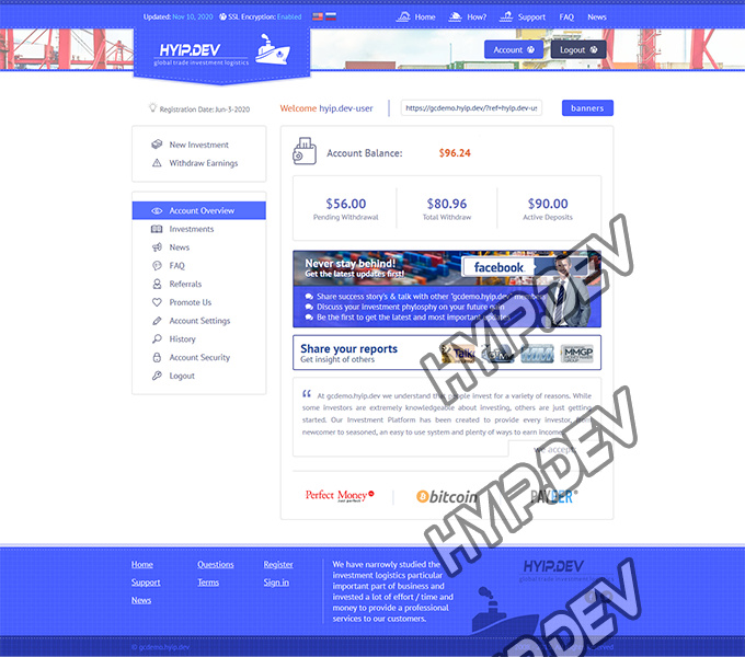 goldcoders hyip template no. 056, account page screenshot