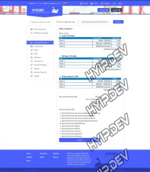 goldcoders hyip template no. 056, deposit page screenshot