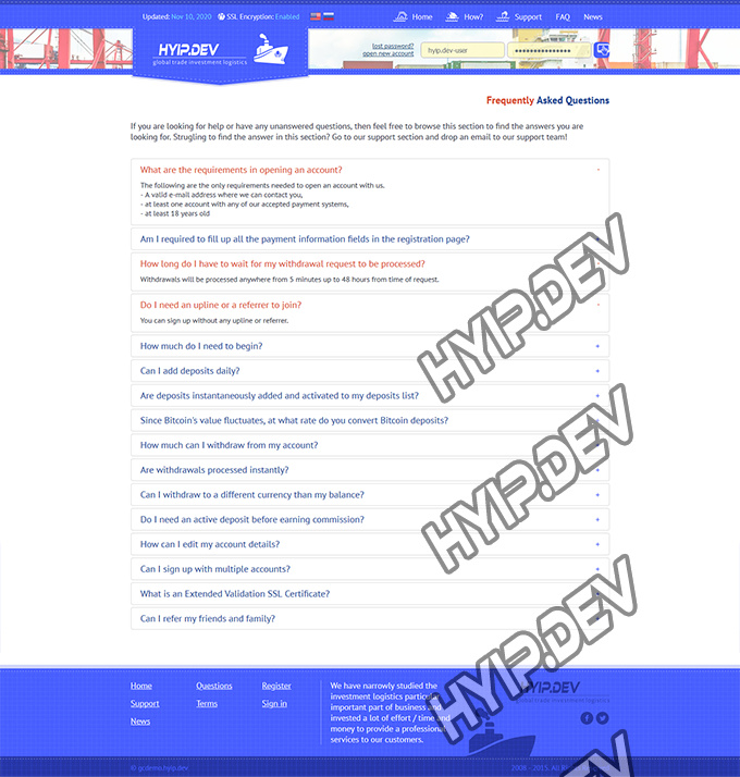 goldcoders hyip template no. 056, default page screenshot