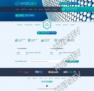 goldcoders hyip template no. 057, account page screenshot