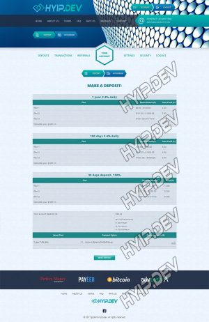 goldcoders hyip template no. 057, deposit page screenshot