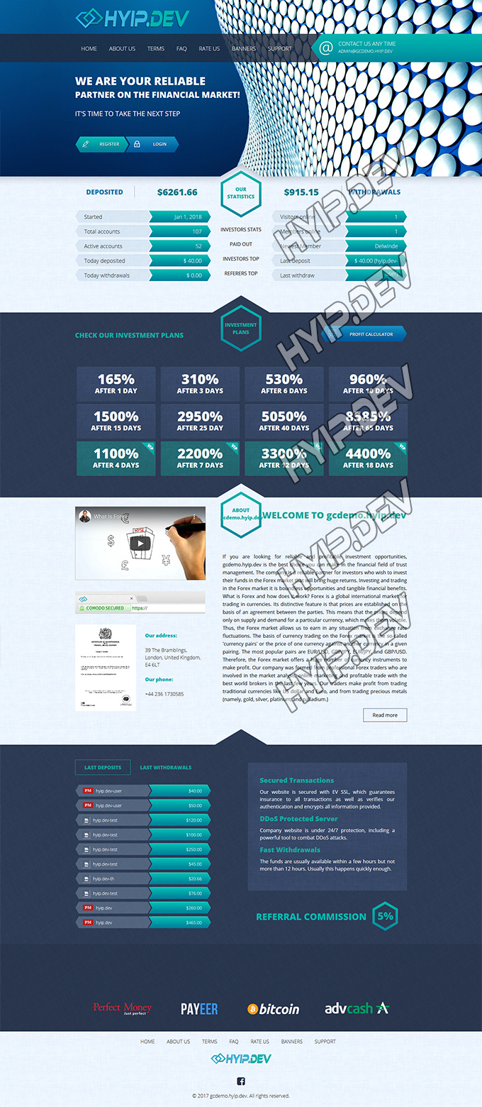 goldcoders hyip template no. 057, home page screenshot