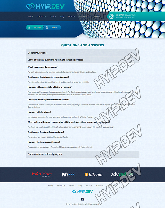 goldcoders hyip template no. 057, default page screenshot