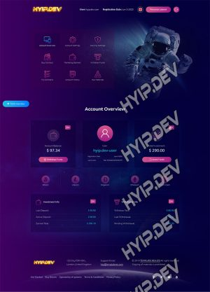 goldcoders hyip template no. 059, account page screenshot