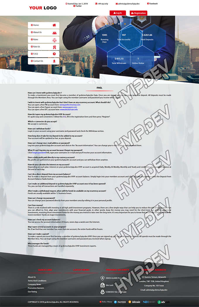 goldcoders hyip template no. 060, default page screenshot