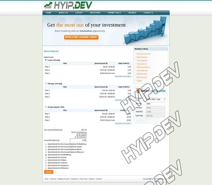 goldcoders hyip template no. 061, deposit page screenshot
