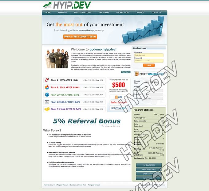 goldcoders hyip template no. 061, home page screenshot