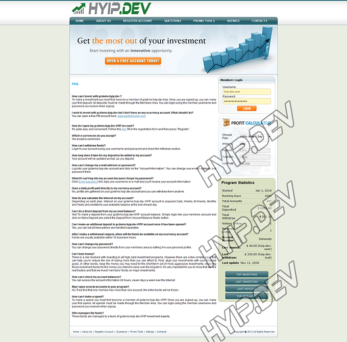 goldcoders hyip template no. 061, default page screenshot