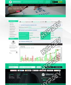goldcoders hyip template no. 062, account page screenshot