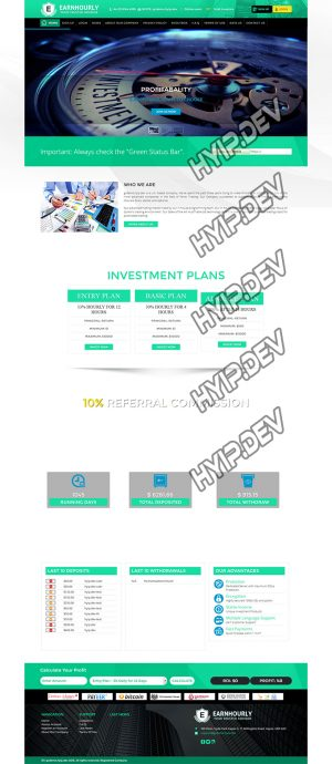goldcoders hyip template no. 062, home page screenshot