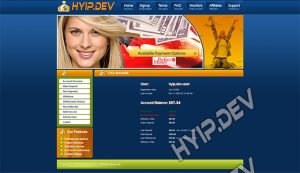 goldcoders hyip template no. 063, account page screenshot
