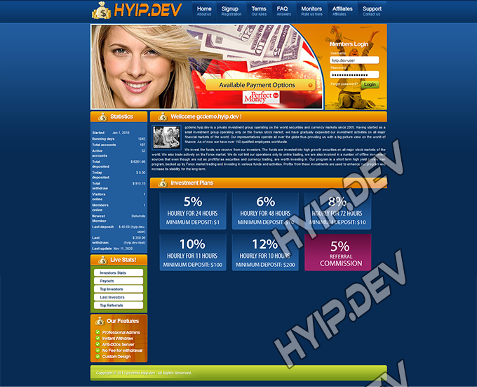 goldcoders hyip template no. 063, home page screenshot