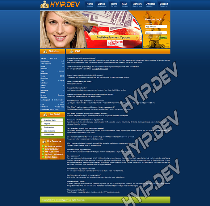 goldcoders hyip template no. 063, default page screenshot