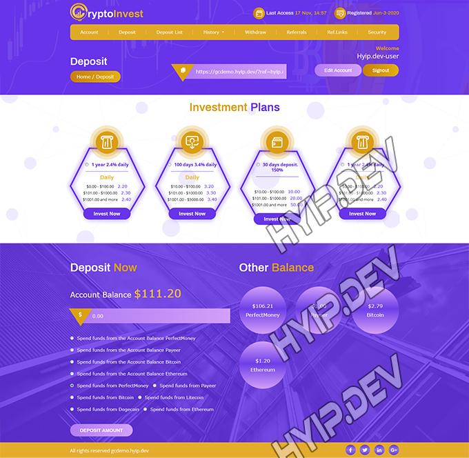 goldcoders hyip template no. 064, deposit page screenshot