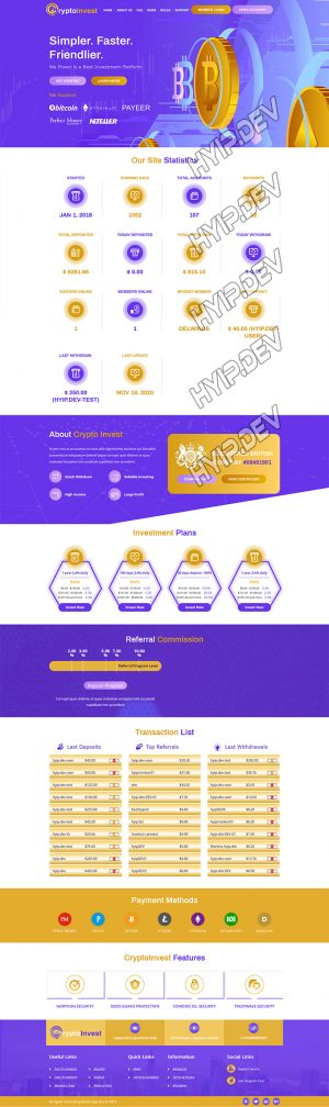goldcoders hyip template no. 064, home page screenshot