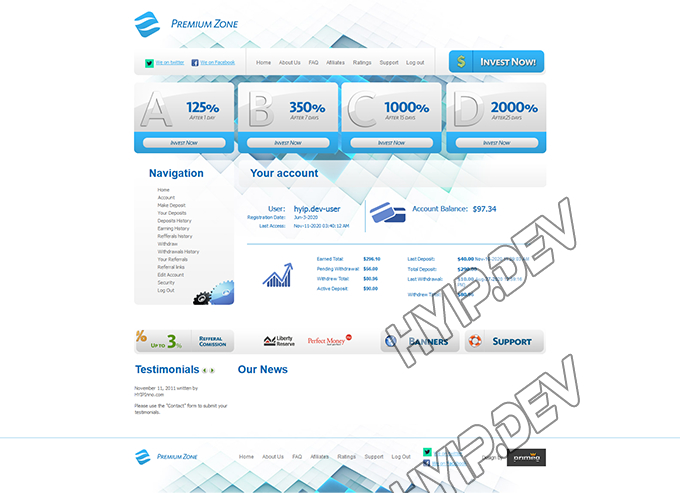 goldcoders hyip template no. 065, account page screenshot