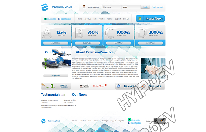 goldcoders hyip template no. 065, home page screenshot