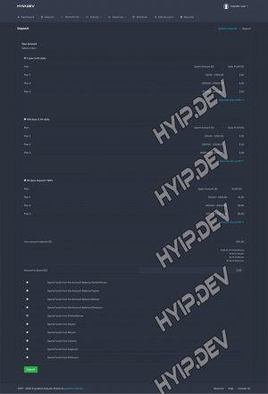 goldcoders hyip template no. 066, deposit page screenshot