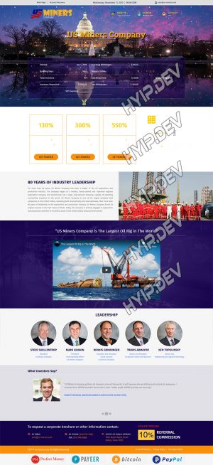 goldcoders hyip template no. 067, home page screenshot