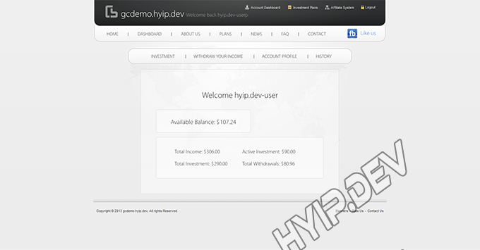 goldcoders hyip template no. 069, account page screenshot