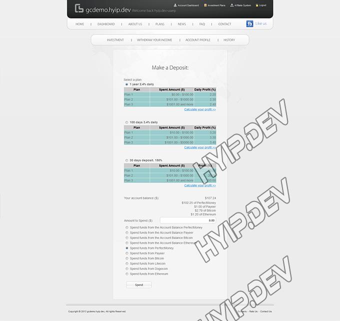goldcoders hyip template no. 069, deposit page screenshot