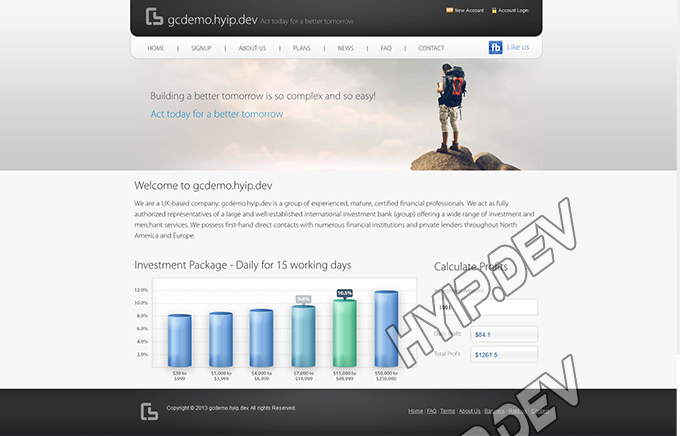 goldcoders hyip template no. 069, home page screenshot