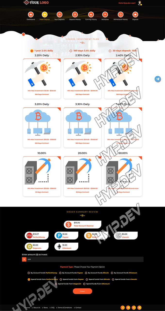 goldcoders hyip template no. 070, deposit page screenshot
