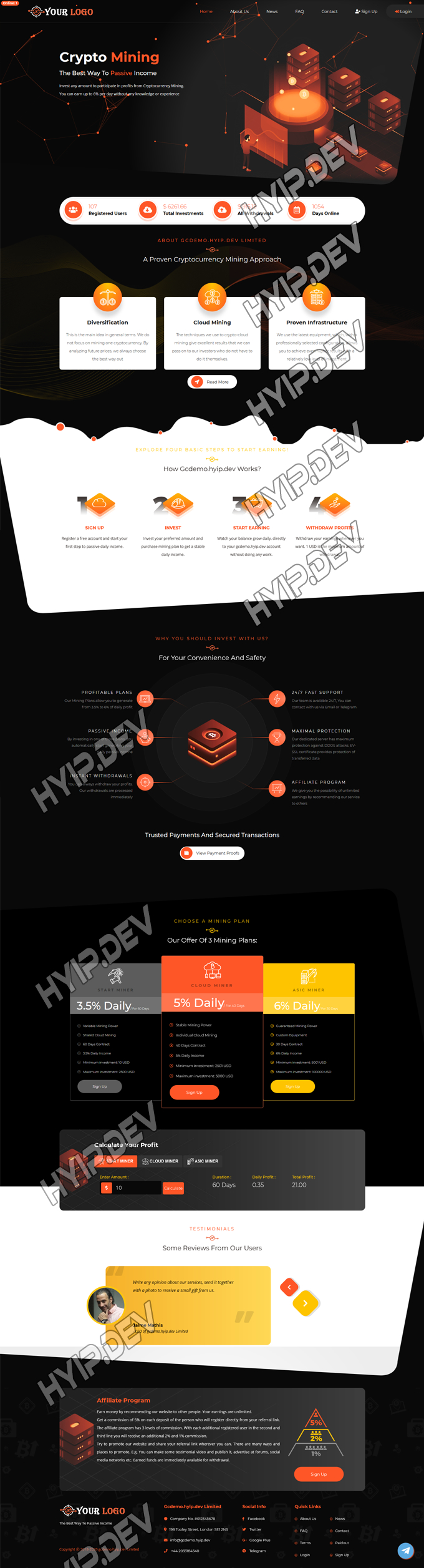 goldcoders hyip template no. 070, home page screenshot