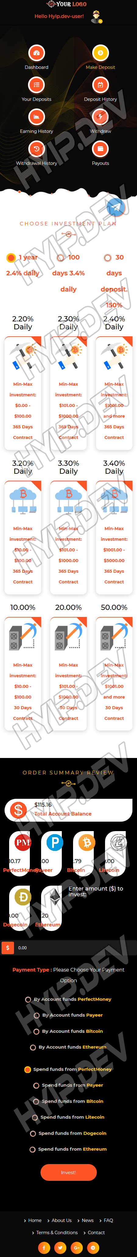 goldcoders hyip template no. 070, mobile page screenshot