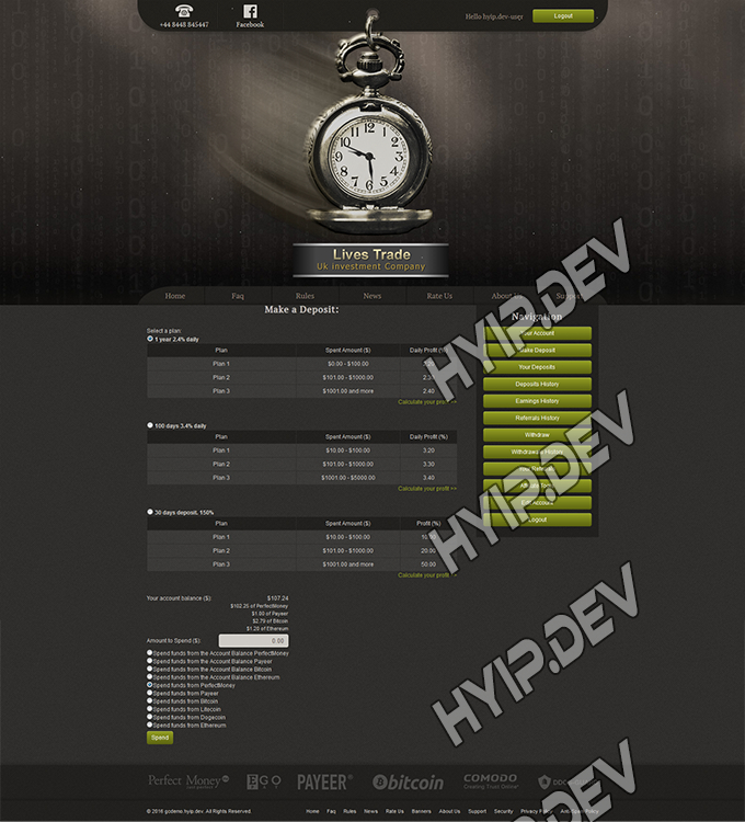 goldcoders hyip template no. 071, deposit page screenshot