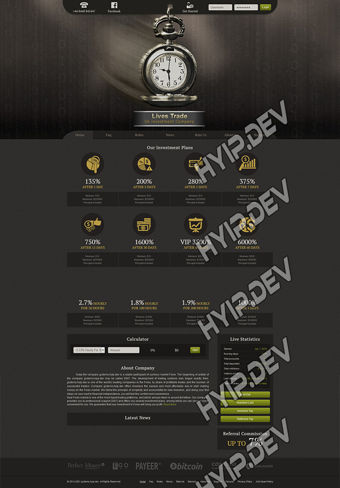 goldcoders hyip template no. 071, home page screenshot
