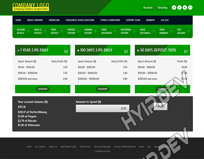 goldcoders hyip template no. 072, deposit page screenshot