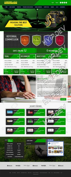 goldcoders hyip template no. 072, home page screenshot