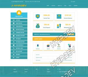 goldcoders hyip template no. 073, account page screenshot