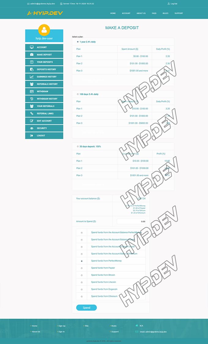 goldcoders hyip template no. 073, deposit page screenshot