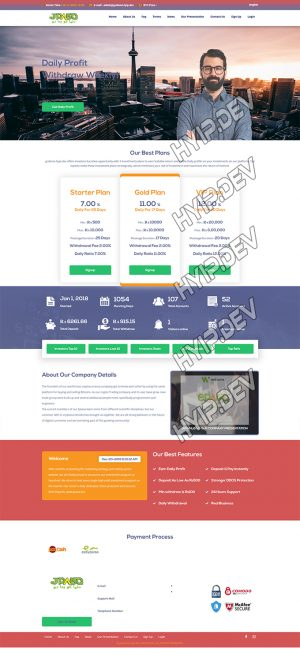 goldcoders hyip template no. 074, home page screenshot