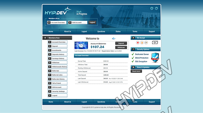 goldcoders hyip template no. 075, account page screenshot