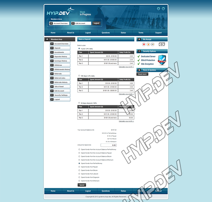goldcoders hyip template no. 075, deposit page screenshot
