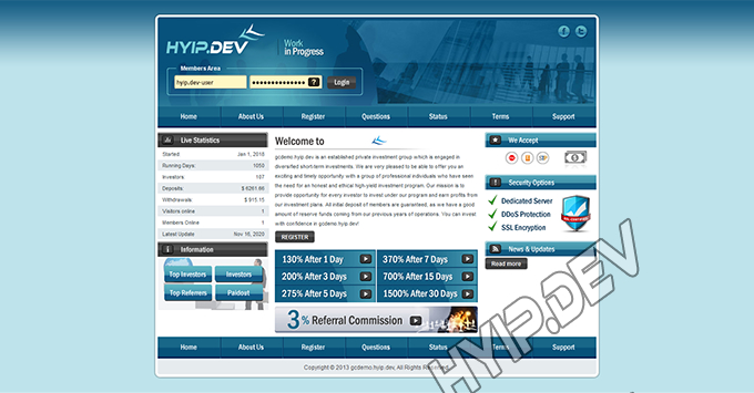 goldcoders hyip template no. 075, home page screenshot