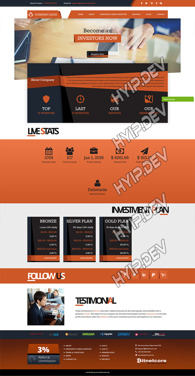 goldcoders hyip template no. 076, home page screenshot