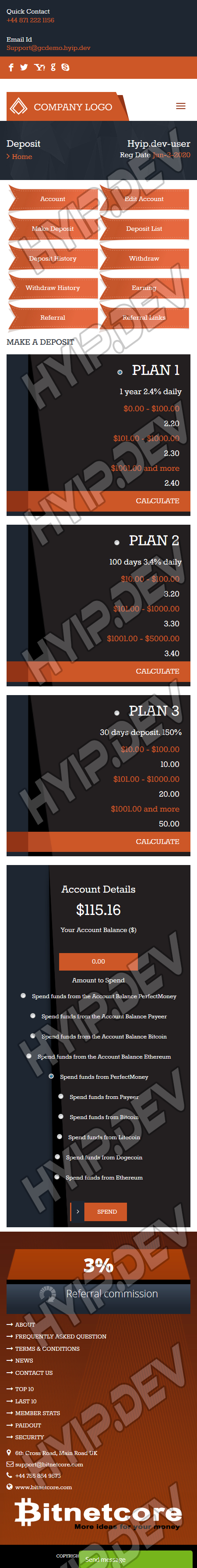 goldcoders hyip template no. 076, mobile page screenshot