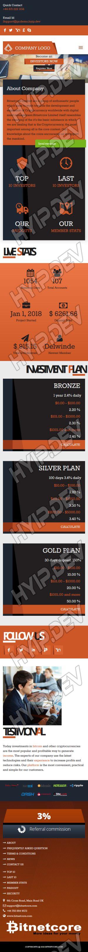 goldcoders hyip template no. 076, responsive page screenshot